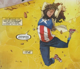 Kamala taking down some bad robots in her Captain America T-shirt.